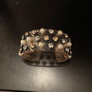 Jcrew acrylic, crystal & pearl cuff